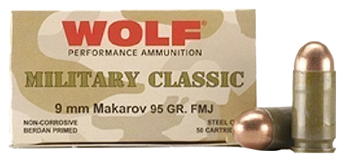 Wolf 9x18mm **Makarov** (NOT LUGER) Ammunition Military Classic 94 Grain Full Metal Jacket Case of 1000 Rounds