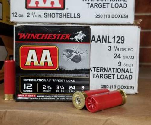 """Winchester 12 Gauge AA InterNational Target Ammunition AANL129 2-3/4"""" 7/8oz #9 1350fps 250 rounds"""