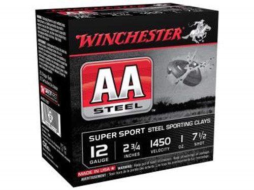 """Winchester 12 Gauge Ammunition AASCL12S7 Sporting Clays 2-3/4"""" #7.5 1450fps 1oz Steel Shot CASE 250 rounds"""