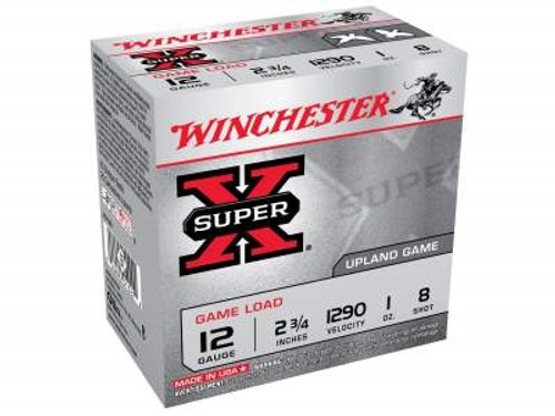 "Winchester 12 Gauge Ammunition Super-X Upland Game XU128 2-3/4"" 1oz 1290fps #8 250 rounds"