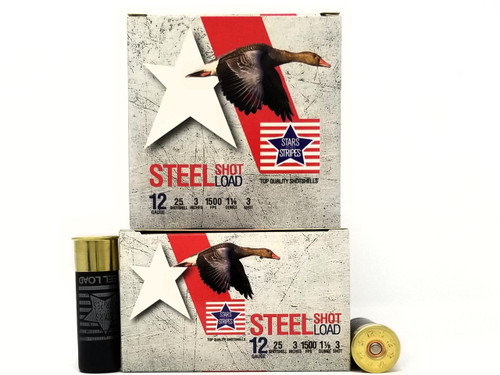 "Stars and Stripes 12 Gauge CP33201 3"" #3 Shot 1-1/8 oz 1500FPS Case of 250 Rounds"