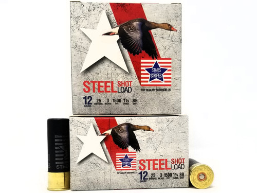 """Stars and Stripes 12 Gauge CP33220 3"""" BB Shot 1-1/8 oz 1500FPS 250 Rounds"""