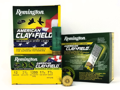 "Remington 12 Gauge Ammunition American Clay & Field HT1275 2-3/4"" 7.5 Shot 1-1/8oz 1200fps Case of 250 Rounds"
