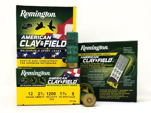 "Remington 12 Gauge Ammunition American Clay & Field HT128 2-3/4"" 8 Shot 1-1/8oz 1200fps Case of 250 Rounds"
