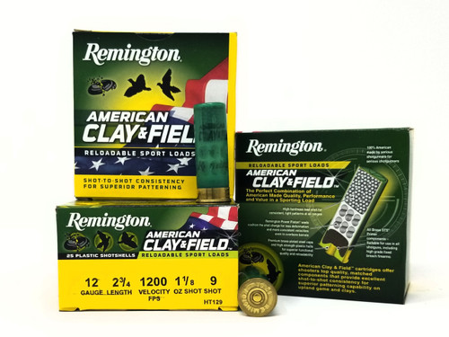 "Remington 12 Gauge Ammunition American Clay & Field HT129 2-3/4"" 9 Shot 1-1/8oz 1200fps Case of 250 Rounds"