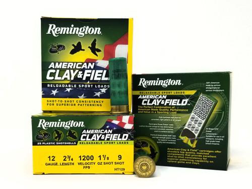 "Remington 12 Gauge Ammunition American Clay & Field HT129 2-3/4"" 9 Shot 1-1/8oz 1200fps Case of 250 Rounds"