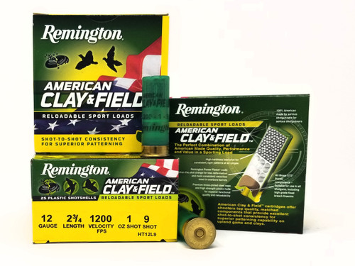 "Remington 12 Gauge Ammunition American Clay & Field HT12L9 2-3/4"" 9 Shot 1oz 1200fps Case of 250 Rounds"