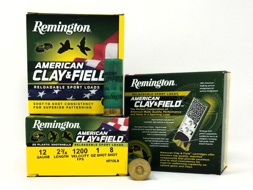 "Remington 12 Gauge Ammunition American Clay & Field HT12L8 2-3/4"" 8 Shot 1oz 1200fps Case of 250 Rounds"