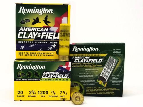 "Remington 20 Gauge Ammunition American Clay & Field HT2075 2-3/4"" 7.5 Shot 7/8oz 1200fps Case of 250 Rounds"