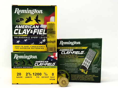"Remington 20 Gauge Ammunition American Clay & Field HT208 2-3/4"" 8 Shot 7/8oz 1200fps Case of 250 Rounds"