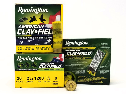 "Remington 20 Gauge Ammunition American Clay & Field HT209 2-3/4"" 9 Shot 7/8oz 1200fps Case of 250 Rounds"