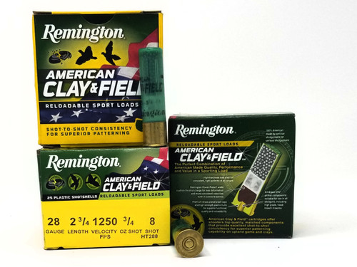 "Remington 28 Gauge Ammunition American Clay & Field HT288 2-3/4"" 8 Shot 3/4oz 1250fps Case of 250 Rounds"
