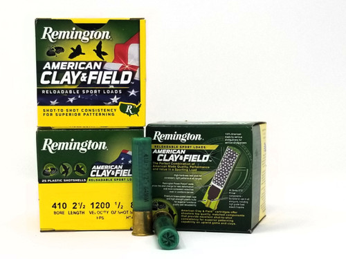 """Remington 410 Bore Ammunition American Clay & Field HT4108 2-1/2"""" 8 Shot 1/2oz 1200fps Case of 250 Rounds"""