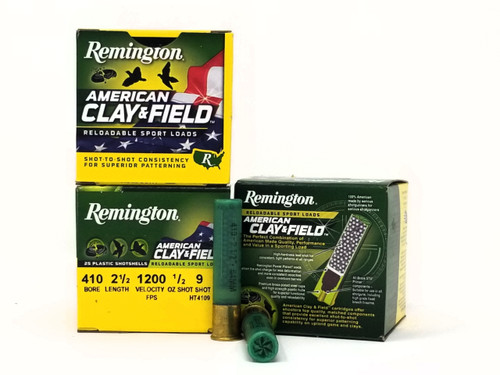 """Remington 410 Bore Ammunition American Clay & Field HT4109 2-1/2"""" 9 Shot 1/2oz 1200fps Case of 250 Rounds"""