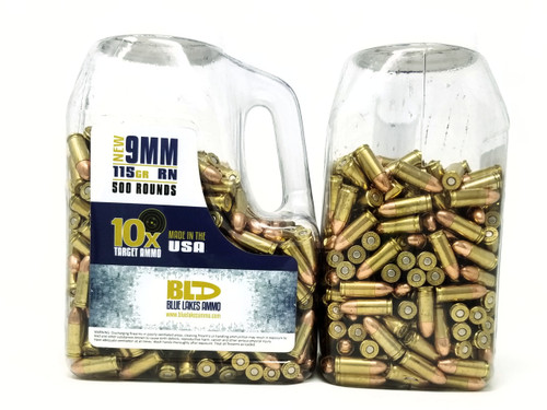 Blue Lake Ammo 9mm Ammunition 10x Target 115 Grain Full Metal Jacket Case of 3 Jug total of 1500 Rounds