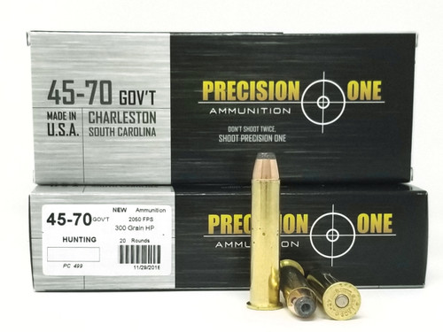 Precision One 45-70 Ammunition PONE499 300 Grain Hollow Point Case of 200 Rounds