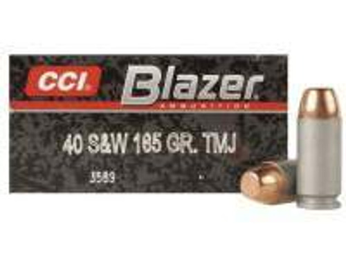 CCI 40 S&W Ammunition Blazer 3589 165 Grain Full Metal Jacket Aluminum Cased Case of 1000 Rounds