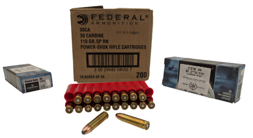Federal 30 Carbine Ammunition Power-Shok 110 Grain Soft Point Case of 200 Rounds