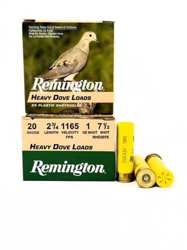 "Remington 20 Gauge Ammunition Heavy Dove Load RHD2075 2-3/4"" 7-1/2 Shot 1oz 1165fps Case of 250 Rounds"