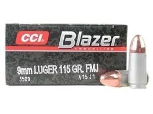 CCI 9mm Ammunition Blazer 3509 115 Grain Full Metal Jacket Aluminum Cased Case of 1000 Rounds