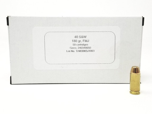 Geco 40 S&W Ammunition 240340050 180 Grain Full Metal Jacket Case of 1000 Rounds
