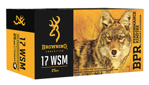 Browning 17 WSM Ammunition BPR 165117050 25 Grain Polymer Tip Case of 500 Rounds