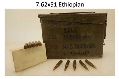 Military Surplus 7.62x51 Ethiopian Ammunition AM2962 145 Grain Full Metal Jacket Lead Core Ammo Can of 280 Rounds