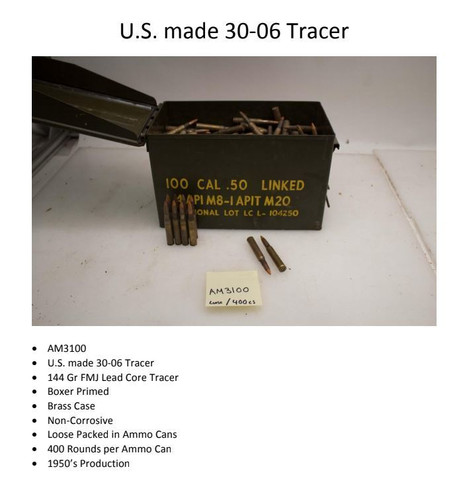 Military Surplus 30-06 Ammunition 144 Grain Full Metal Jacket Lead Core Tracer Can of Loose 400 Rounds