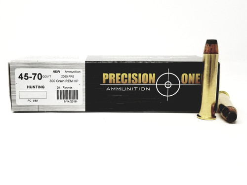 Precision One 45-70 Gov't Ammunition 989 300 Grains Rem Hollow Point Case of 200 Rounds