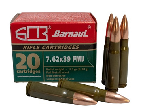 Barnaul 7.62x39 Steel Case Ammunition 123 Grain Full Metal Jacket CASE 500 Rounds