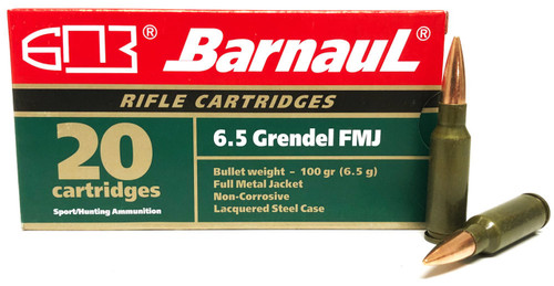 Barnaul 6.5 Grendel Steel Case Ammunition 100 Grain Full Metal Jacket CASE 500 Rounds