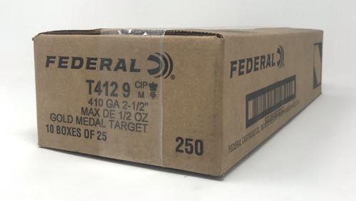 """Federal 410 Bore Ammunition Gold Medal T4129 2.5"""" 1/2 oz #9 Shot 1230 fps CASE 250 Rounds"""