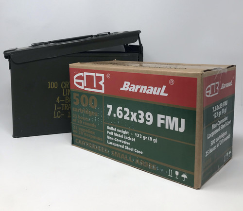 Bundle of Barnaul 7.62x39 Steel Case Ammunition 123 Grain Full Metal Jacket Inside US Surplus Ammo Can 500 Rounds