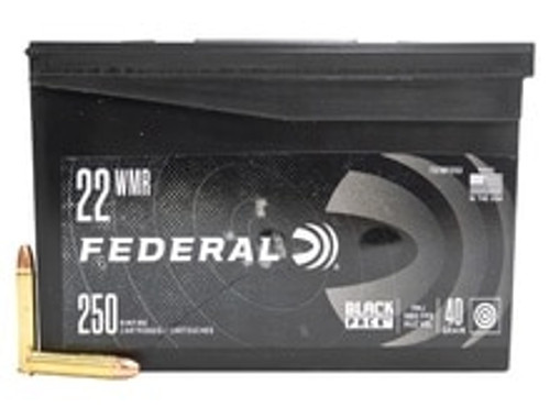 Federal 22 WMR Ammunition Black Pack 737BF250 40 Grain Full Metal Jacket CASE 1000 Rounds