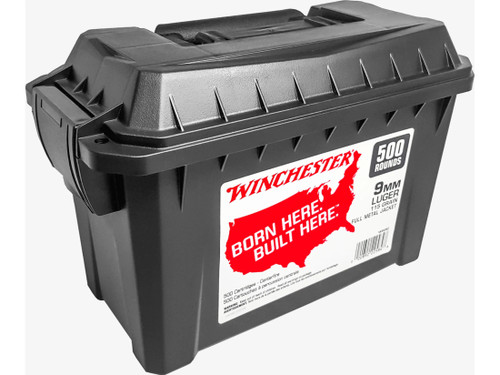 Winchester 9mm Ammunition WW9C 115 Grain Full Metal Jacket Ammo Can of 500 Rounds