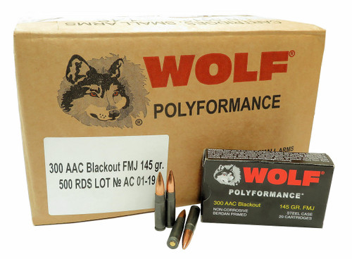 Wolf 300 Blackout Ammunition WOLF300BLK145 145 Grain Full Metal Jacket 500 Rounds
