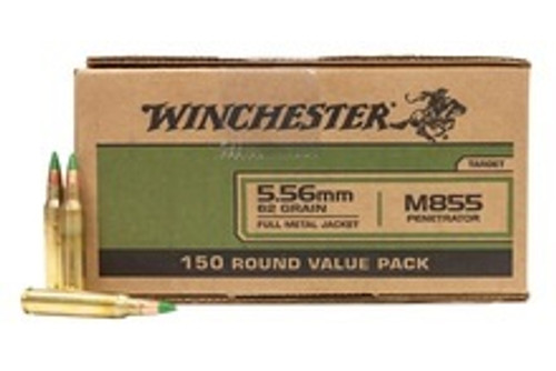 Winchester 5.56x45mm M855 WM855150 62 Grain Full Metal Jacket Green Tip CASE 600 Rounds
