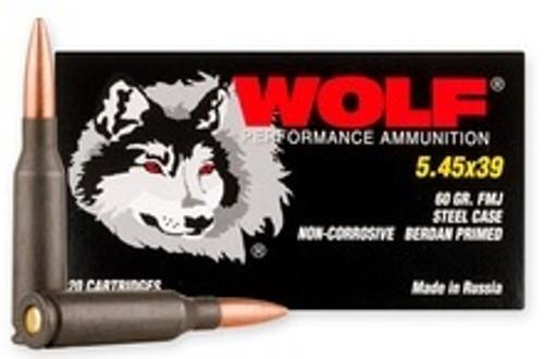 Wolf 5.45x39mm Ammunition WPA545FMJ20 60 Grain Full Metal Jacket CASE 1000 Rounds