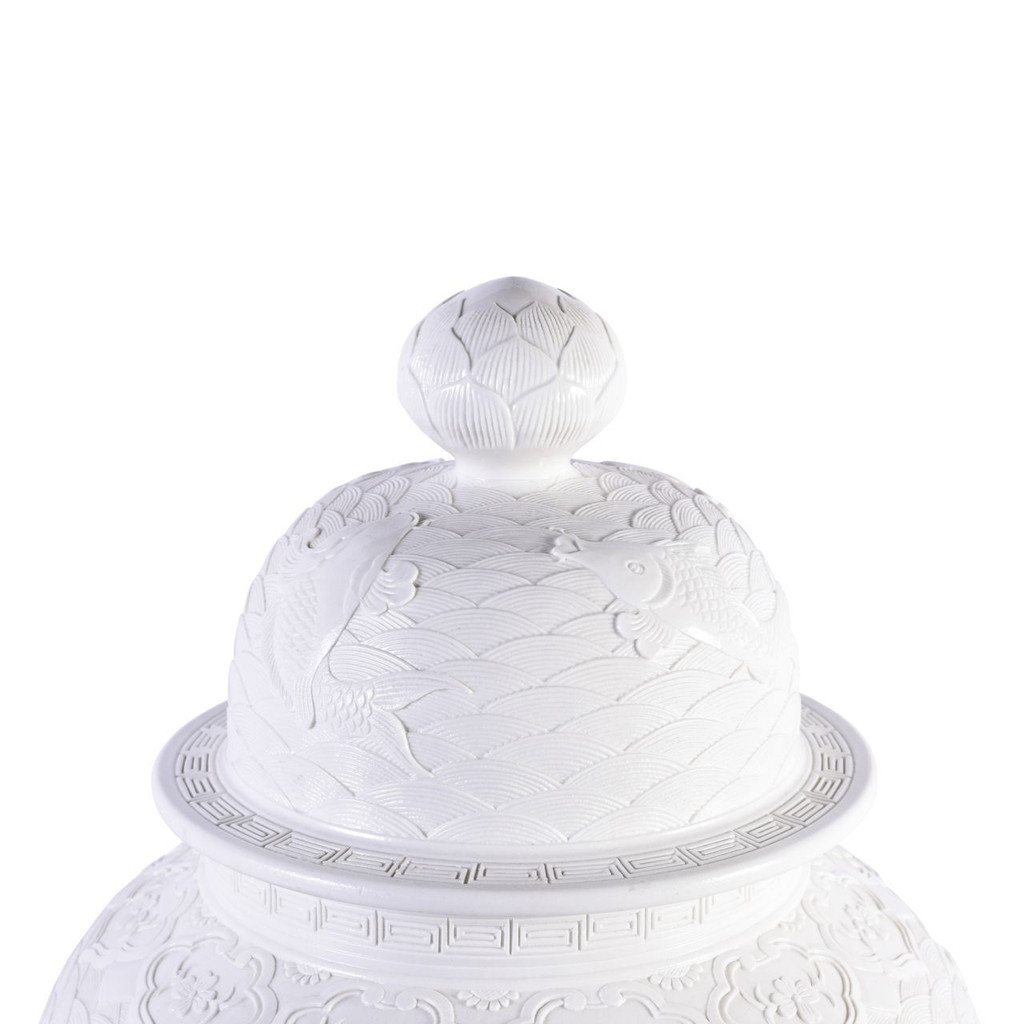 High-White Carved Fish Temple Jar