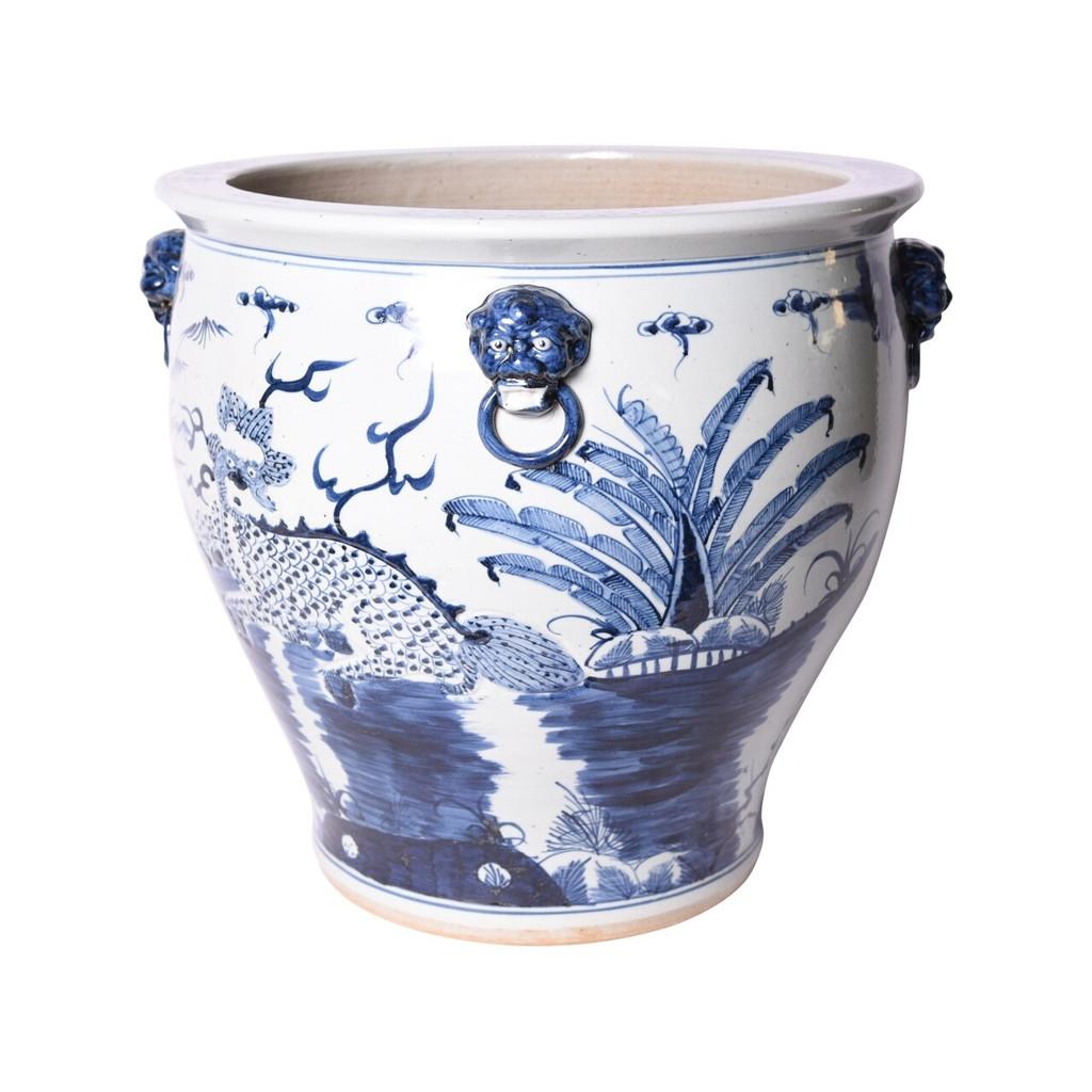 Blue & White Kylin Bowl Shape Planter
