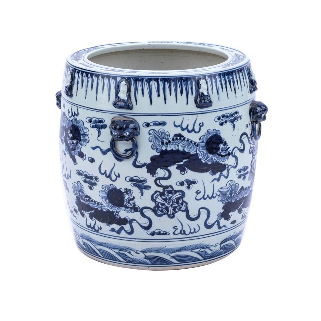 Blue & White Lion Drum Shape Planter