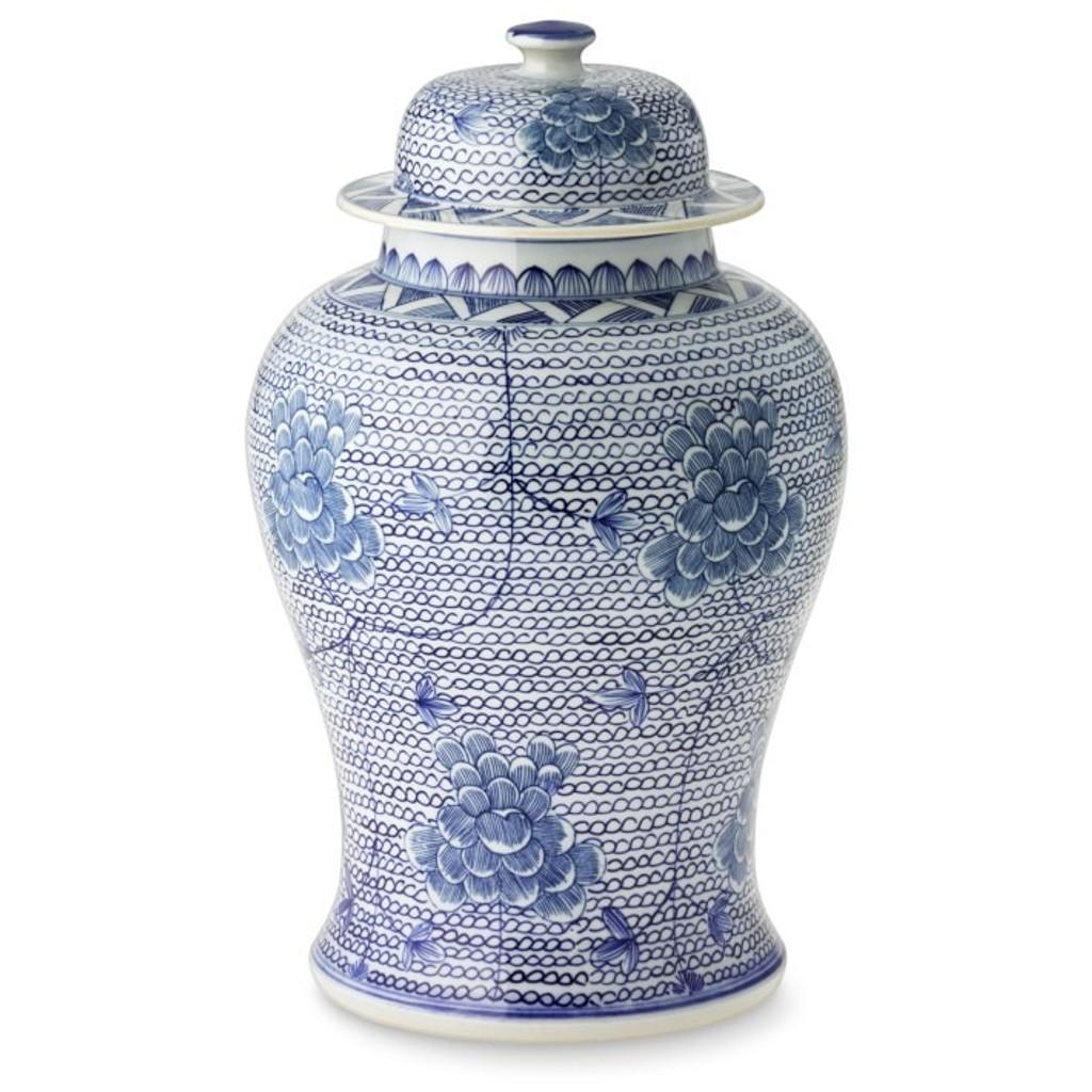 Blue & White Chain Temple Jar - 2 Sizes