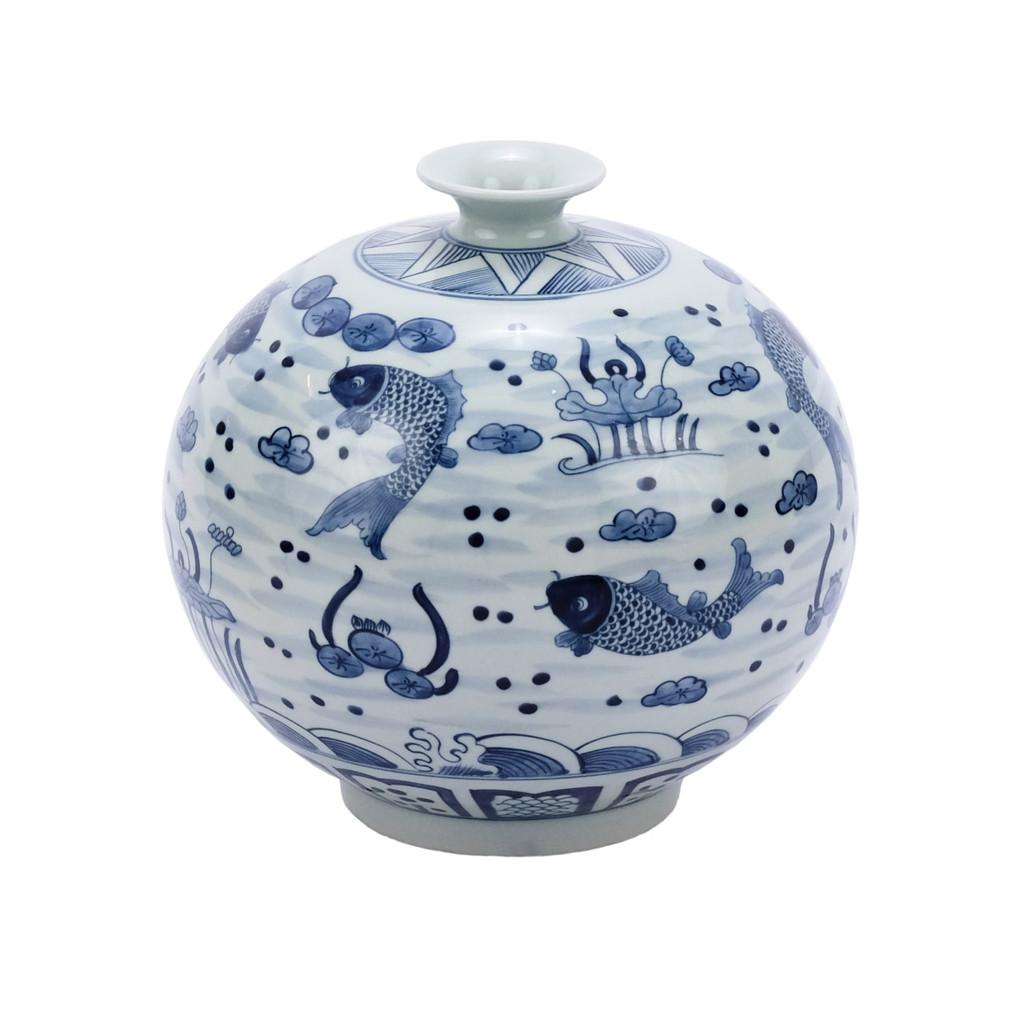 Blue & White Fish Pomegranate Vase