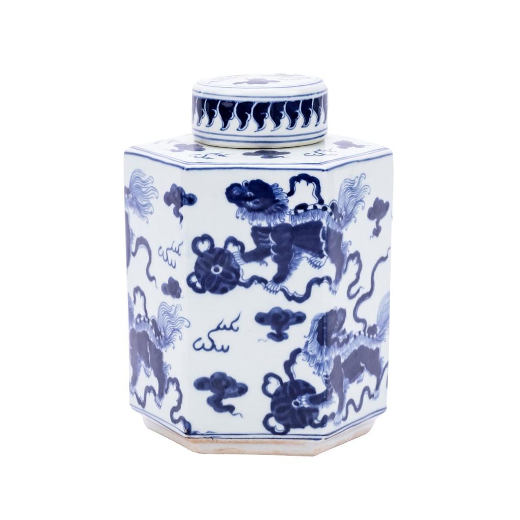 Blue & White Lion Hexagonal Tea Jar