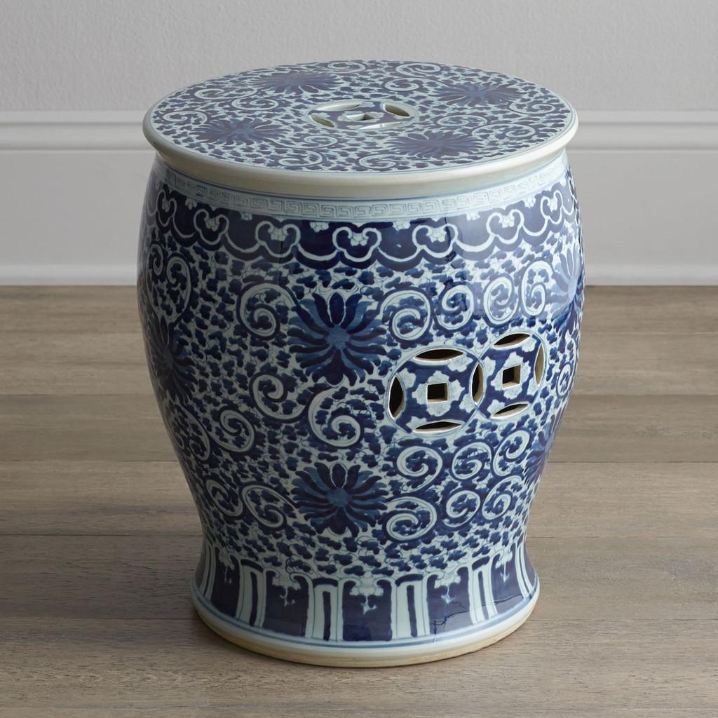 Blue & White Twisted Lotus Drum Stool