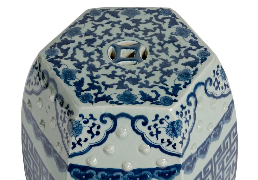 Blue & White Hex Geometric Garden Stool
