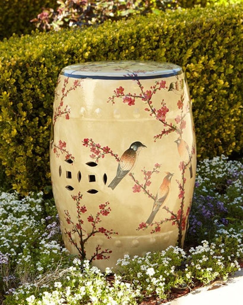 Beige Famille Rose Garden Stool with Magpie Cherry Motif