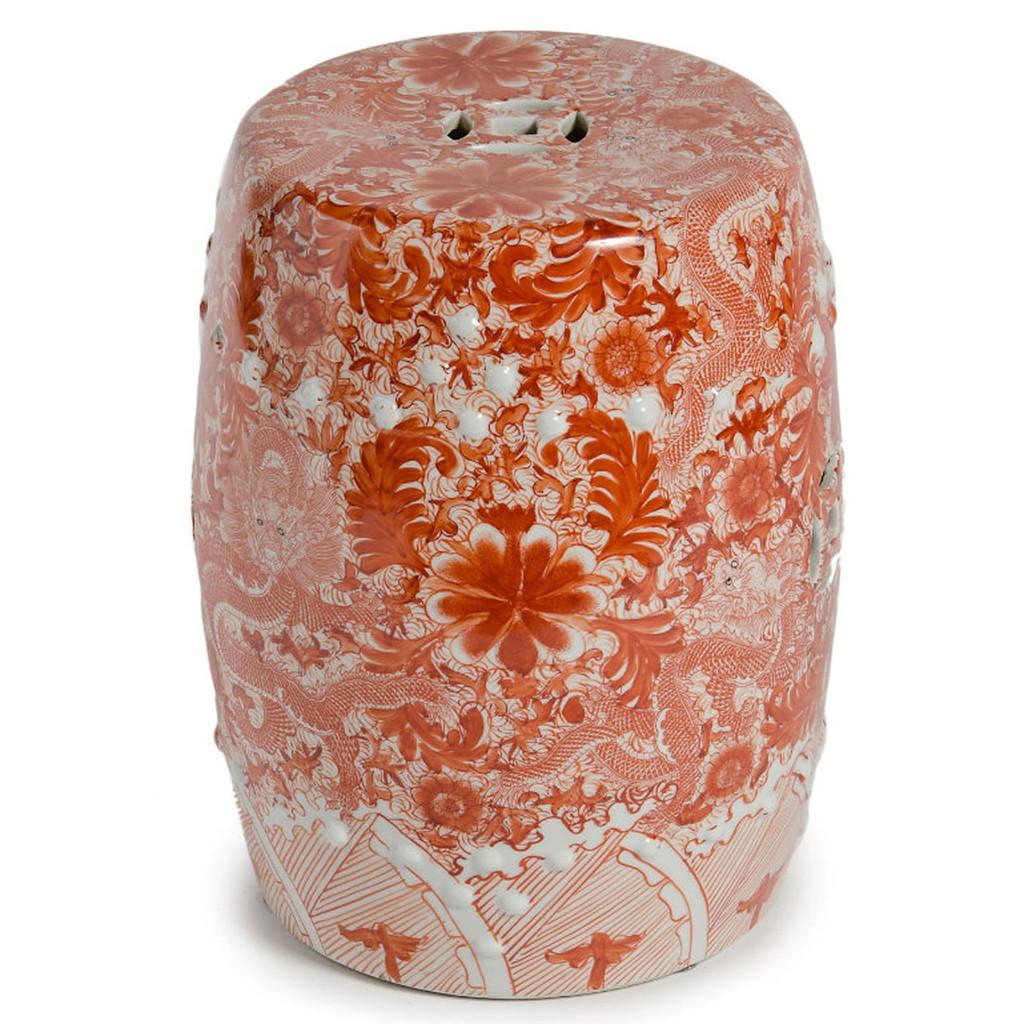 Orange Ceramic Garden Stool W/ Dragon Motif