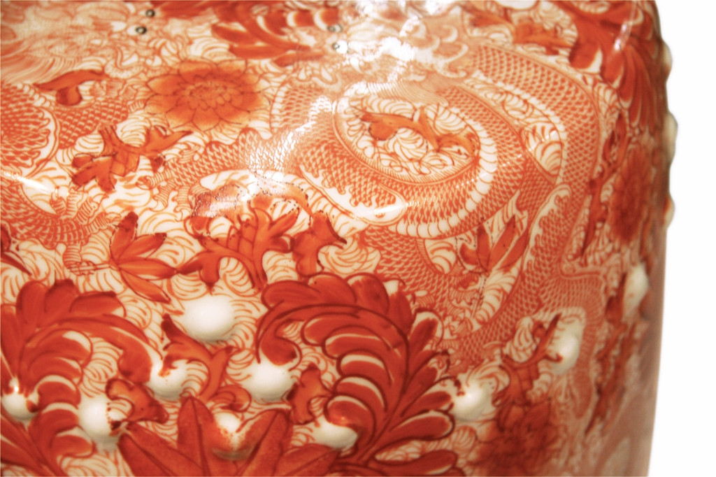 Orange Porcelain Garden Stool W/ Dragon Motif