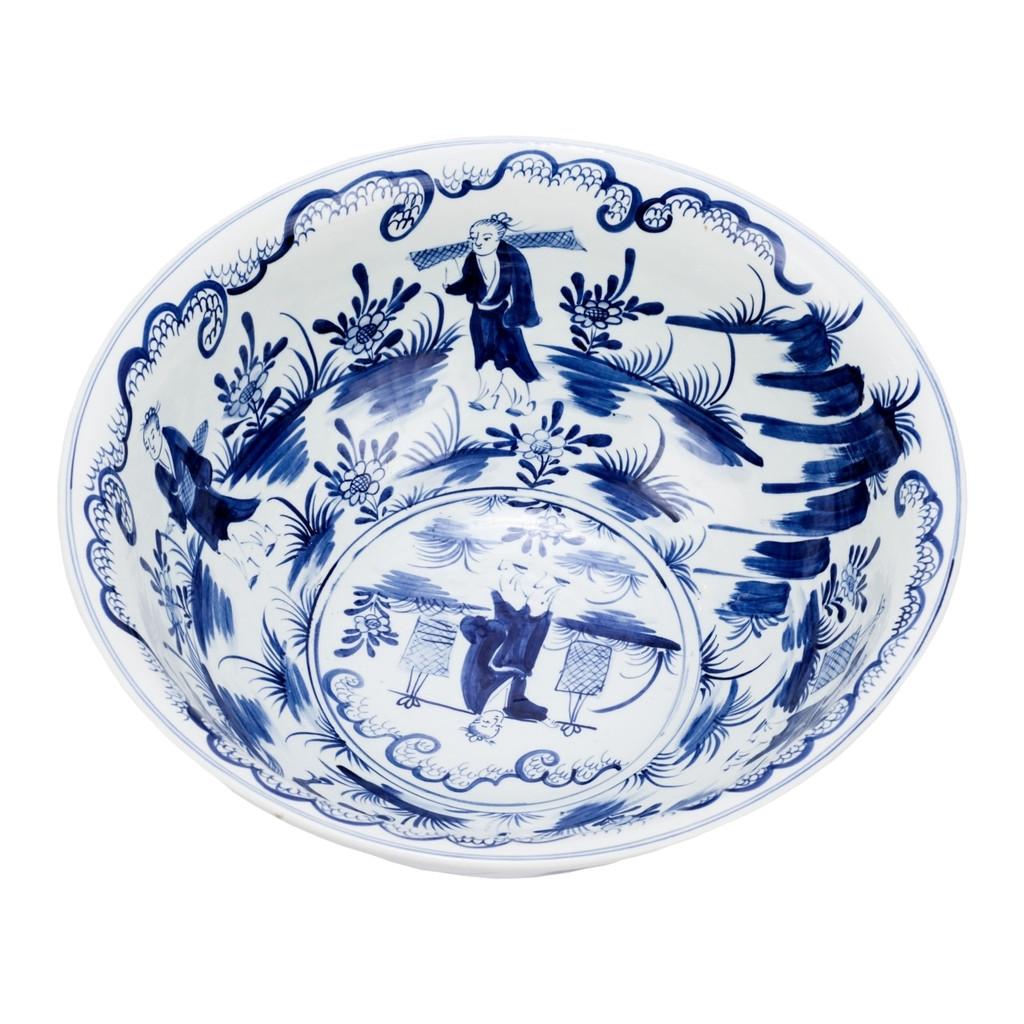 Blue & White Bowl W/ People Scene